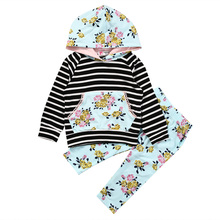 Floral Newborn Baby Clothes Set Infant Bebes Girls Striped Hooded Sweatshirt Tops Flower Pant 2PCS Outfit