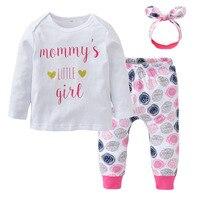 Baby Girl 3Pcs Clothes Sets Letter Printed T Shirt Dot Pant Headband Newborn 3Pcs Clothing Set