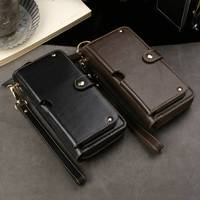 Genuine Leather Handbag Case For Samsung Galaxy S7 Edge S8 S9 Plus Wallet Pouch Universal Strap Multipurpose Phone Bags Cases