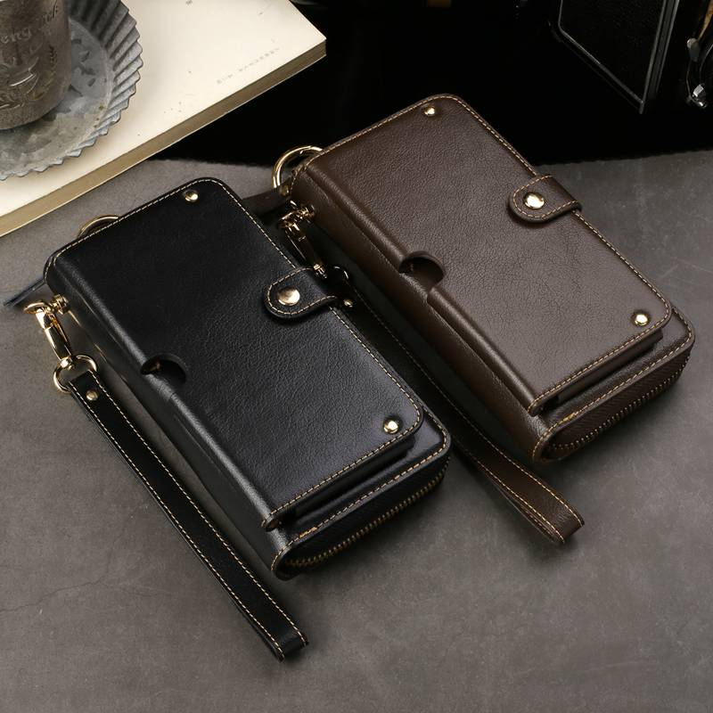 Véritable Sac À Main En Cuir Cas Pour Samsung Galaxy S7 Bord S8 S9 Plus Portefeuille Poche Universal Strap Polyvalent Téléphone Sacs Cas