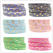 10 yards/lot Gold Foil Love Heart Print Fold Over Elastic  5/8 Stripe FOE Ribbon for DIY Hair Supplies Accessories