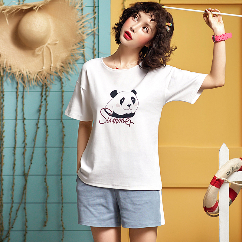 2019 New Arrival Female   Pajamas     Set   Sleepwear Women Cotton cartoon panda Print Pyjama Summer Casual Loose Nightwear Home Wear