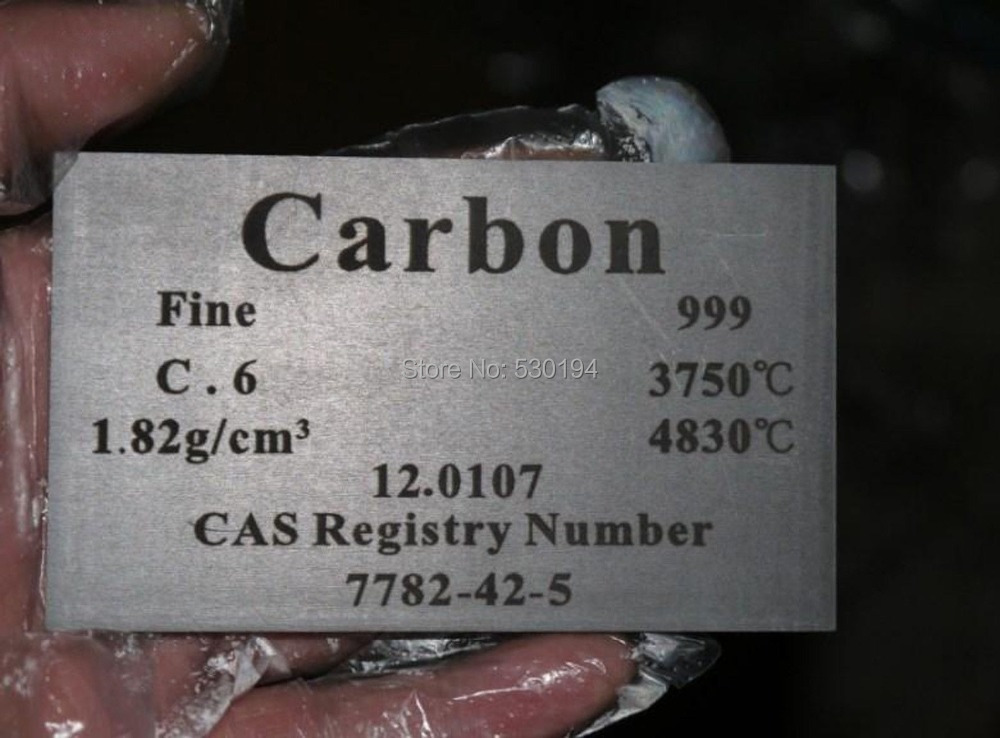 99.9% Carbon C Carved Element Periodic Table Board Model 5*60*100mm 55.4g