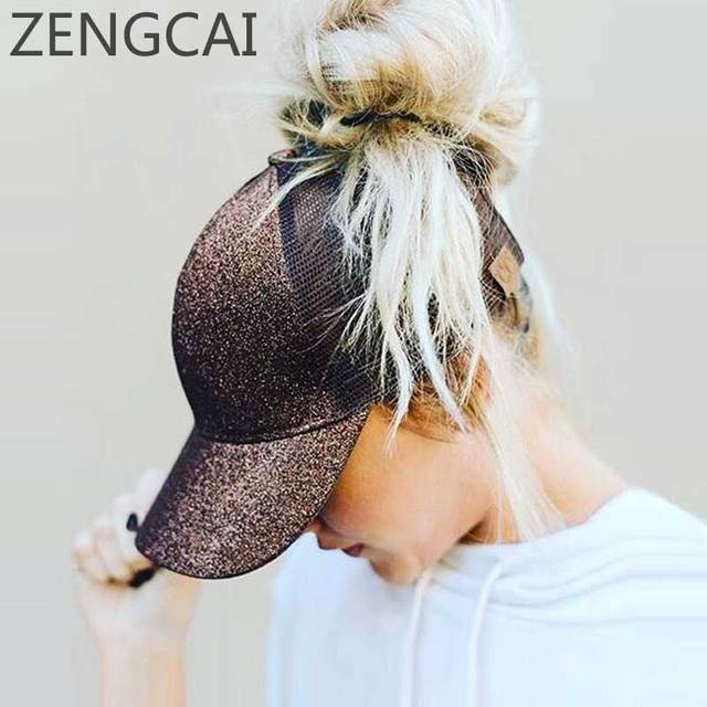 Dad Hat CC Ponytail Baseball Cap Snapback Messy Bun Caps For Women Female Summer Mesh Trucker Hat 2019 Fashion Girl Hip Hop Hats