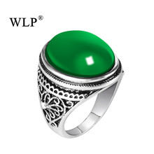 цена на WLP 2018 Oval Shape 4 Colors Vintage Antique Silver Plated Couple Finger Rings Big Opal Stone Ring Size 7 8 9 10 Women&Men Rings