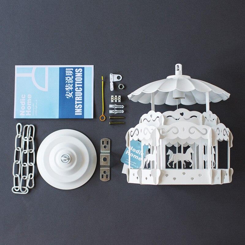 Nordique moderne minimaliste carrousel chambre d'enfants lustre personnalité créative salon chambre princesse lampe affranchissement gratuit - 2