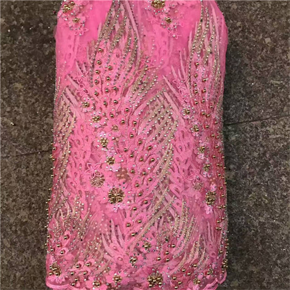 2019 pink Latest French Nigerian Laces Fabrics with beaded stones Tulle African Laces Fabric Wedding African