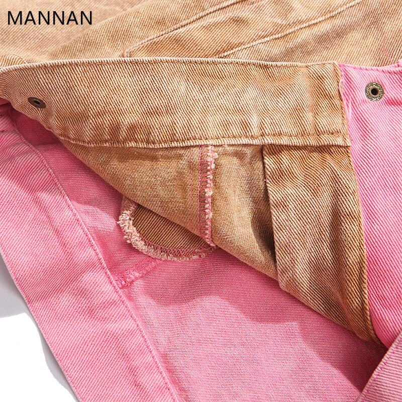 Veste Modis Jeans Mannan Hommes Hiver Streetwear Couleur Rose Denim Bloc Vintage Harajuku Pink Patchwork FUqqwC6