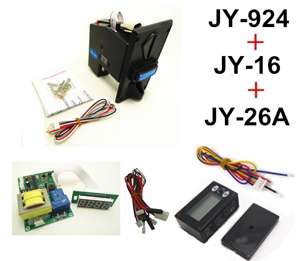 JY924+JY16+JY26A coin operated time control device for cafe kiosk, multi coin selector with 220V timer board and reset counter перчатки shirai jy c6135 308 shrai c6135