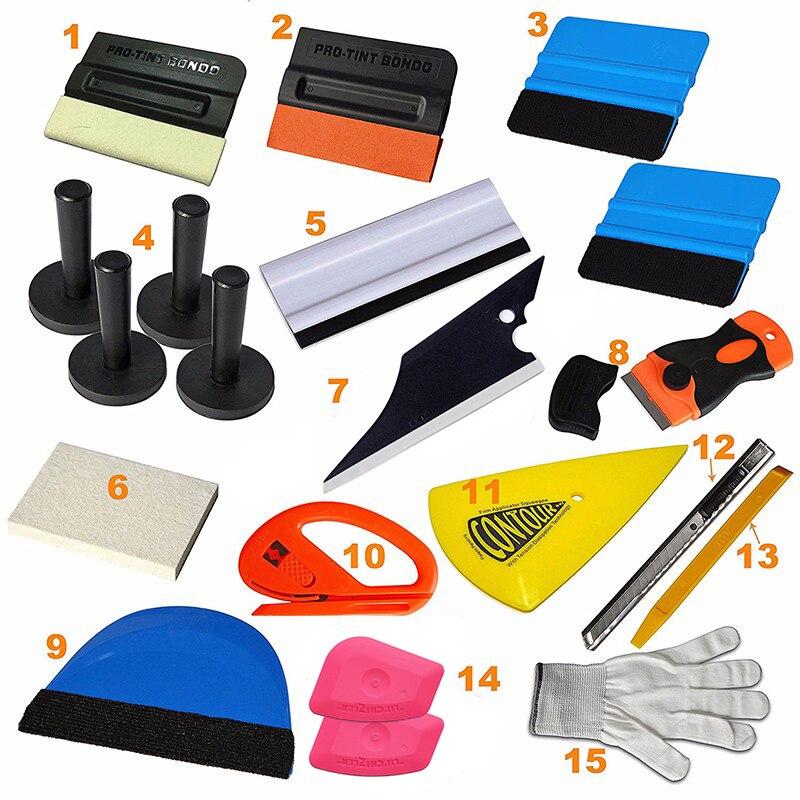 EHDIS 21 pièces vinyle Film voiture Wrap outils Kit laine raclette glace grattoir fenêtre teints outils support magnétique avec lame de couteau de rasoir
