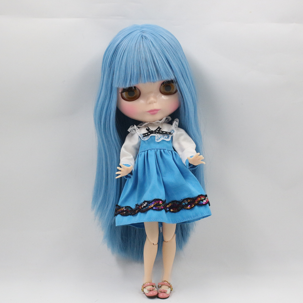 color Will Change When Temp <15 Humorous Free Shipping Nude Factory Blyth Doll Series No.230bl2749 Blue Hair With Bangs flesh Color Skin To Adopt Advanced Technology