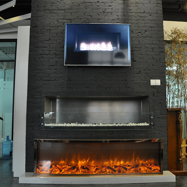 golden and rose gold modern fake flame electric fireplace - Modern Electric Fireplace