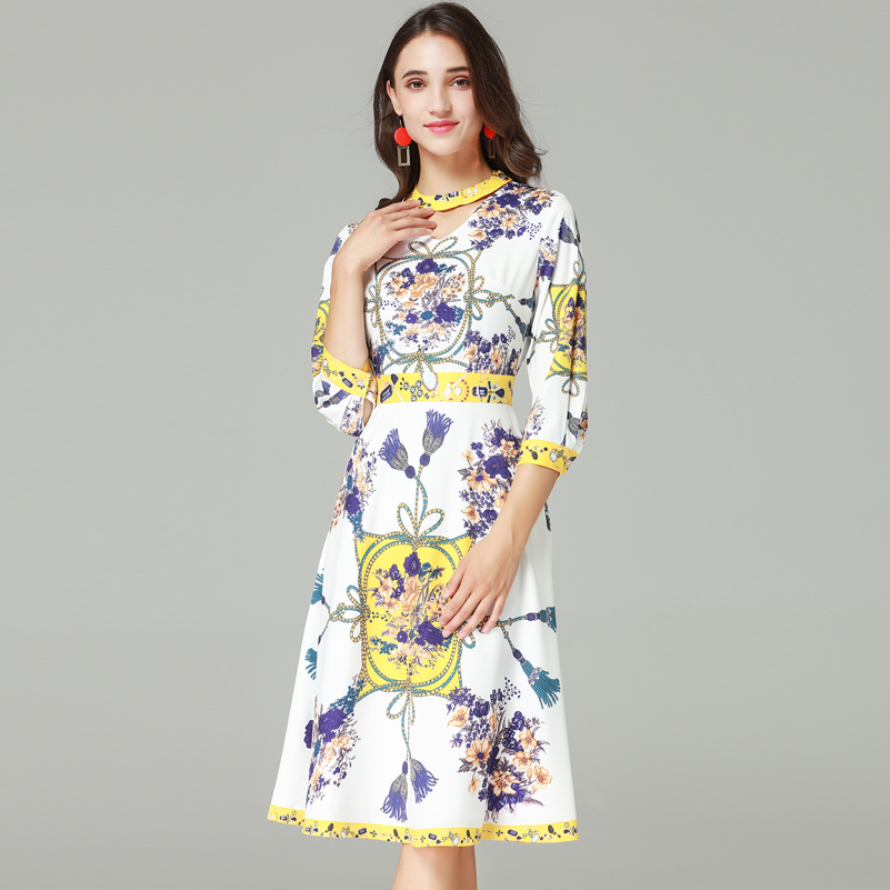 2018 Haute Manches ligne Mode Multi Trois Impression De Vintage Créateur Robe Trimestre A Femmes Qualité Nouvelle thQxBCrds