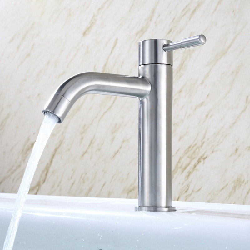 304 Stainless Steel Single Cold Kitchen/Bathroom Basin Faucet Hand Wash Basin Tap Long Paragraph Single Cold Cleansing Faucet