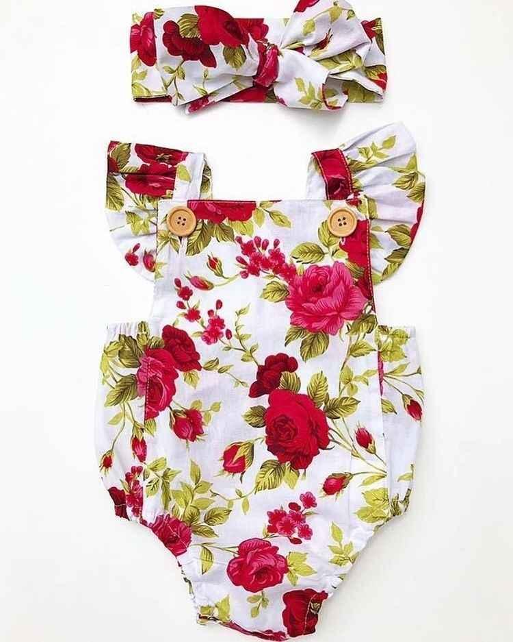 2018 Leuke Bloemen Romper 2 Stuks Baby Meisjes Kleding Jumpsuit Romper + Hoofdband 0-24M Leeftijd Ifant Peuter pasgeboren Outfits Set Hot Koop