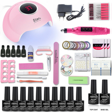 hot deal buy nail set 36w uv led lamp with 10pcs nail gel polish kit soak off manicure tools set 1top 1base for nail art tools