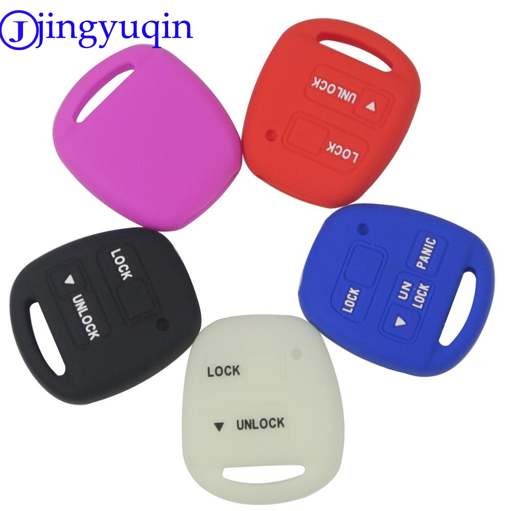 Jingyuqin 2 Buttons Silicone Car Key Fob Case Cover Skin For TOYOTA CAMRY RAV4 PRADO COROLLA AVENSIS LAND CRUISER YARIS