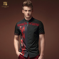 Free Shipping New man's 2015 fashion casual summer male short sleeve black flower floral shirt collar 15309 personality fanzhuan