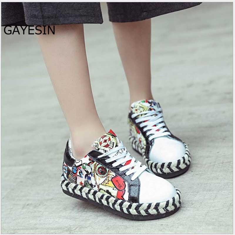 Graffiti hiphop dames schoenen stijl gemengde kleuren vrouwelijke - Damesschoenen