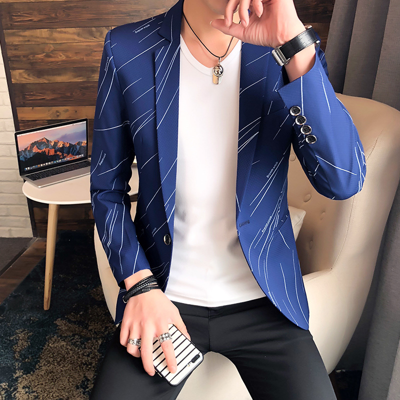 New 2020 Spring Leisure Suit Young Men Fashion, Cultivate One's Morality Printed Suit