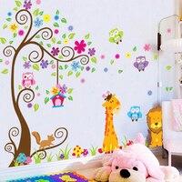 Giraffe Lion Animals Tree Wall Stickers For Kids Room Decoration Diy Home Decals Cartoon Safari Mural