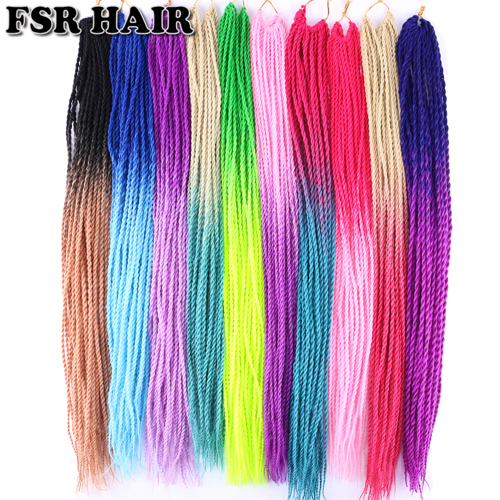 FSR Ombre Synthetic Braiding Hair 22 Inch 100 Gram Senegalese Twist Hair Crochet Braids 30 Roots/pack 39 Color Available