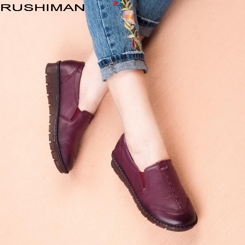 Autumn Women Genuine Leather Loafers ladies ballet Flats Shoes female Winter Casual shoes Comfortable Slip On Flats muyang women flats 2018 genuine leather ballet flats female casual flat shoes women loafers soft comfortable women shoes