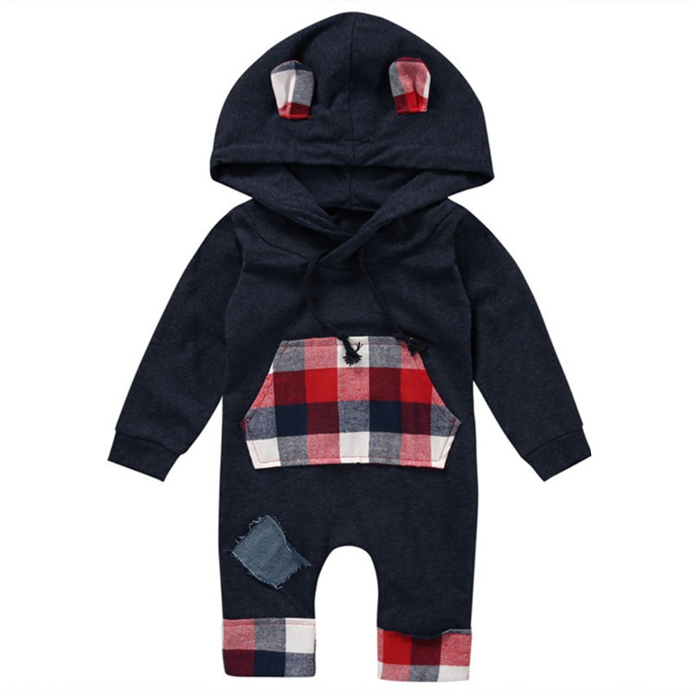 Puseky 2017 Autumn Winter Newborn Baby Boys Girl Long Sleeve Check Clothes Hooded Jumpsuit Romper Outfits 0-24M baby clothing summer infant newborn baby romper short sleeve girl boys jumpsuit new born baby clothes