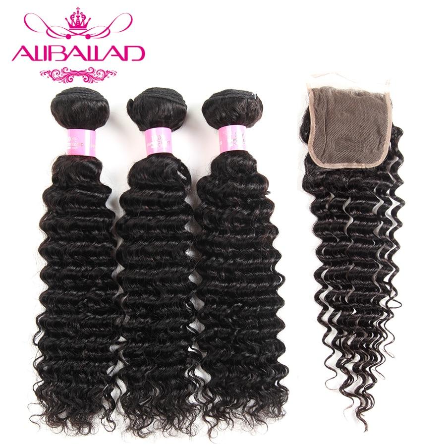 Aliballad Brazilian Deep Wave 3 Bundles With Closure 4x4 Free Part Closure Non Remy Hair Weave Human Hair Bundles With Closure