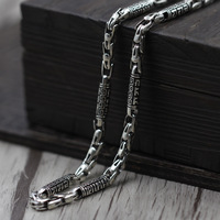 Thai Silver Jewelry Making Men Rough Old Words Six Vintage Chain Necklace 925 Sterling Silver Jewelry