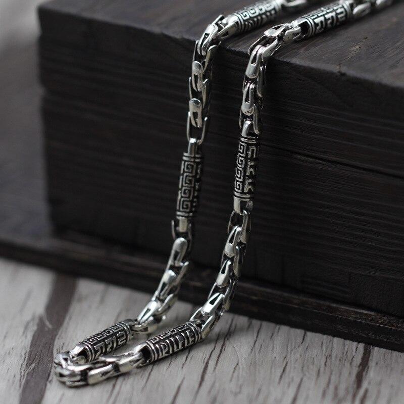 Thai argent fabrication de bijoux hommes rugueux vieux mots six Vintage Chaîne Collier 925 bijoux en argent sterling