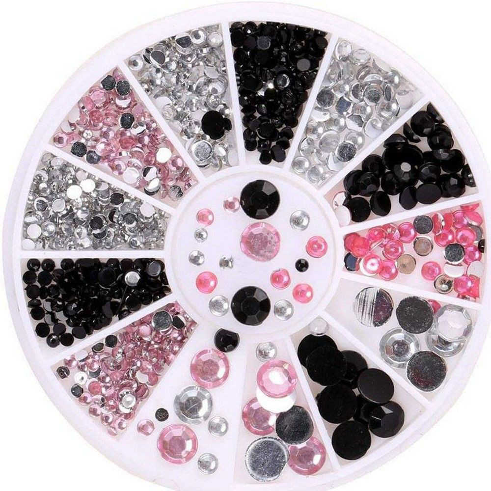 1 коробка искусства ногтя щетка с аккумулятором, трехцветная блестящие черный, розовый алмаз коробка с различным ассортиментом 2/3/4/5 см) с небольшой платформой для ногтей лак для ногтей для UV гелевое украшение комплект орнаментов
