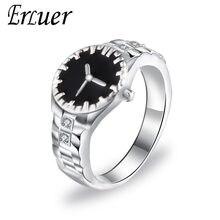 cc1ccfc5a409 Nueva moda negro esmalte reloj forma dedo Anillos para Mujeres Hombres  ZIRCON cristal plateado joyería Anillos partido brithday .
