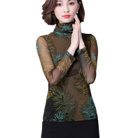 2017 Autumn Winter New Turtleneck Blouse Knitted Mesh Feather Print Slim Women Tops Long Sleeve Plus