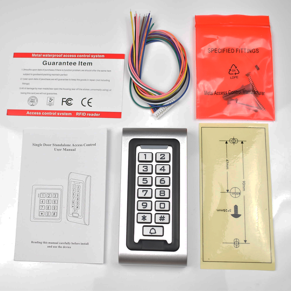 LED Keypad RFID 125khz Access Control System Proximity Card Standalone 2000 Users Door Access Control Metal Case