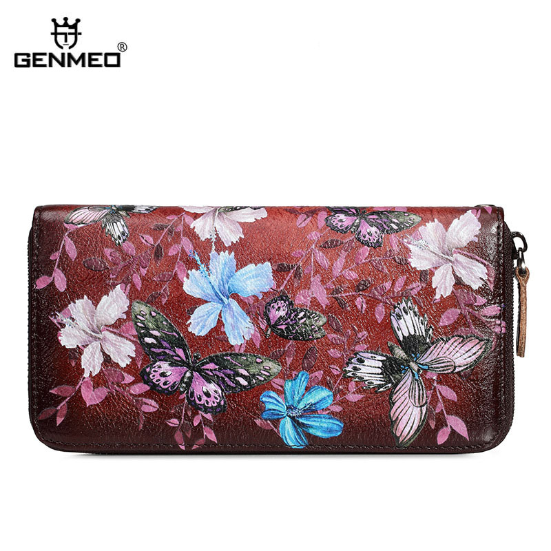 GENMEO Brand New Arrival Genuine Leather Zipper Wallet Women Coin Purse Butterfly Flowers Cow Hand Strap Bolsa Feminina