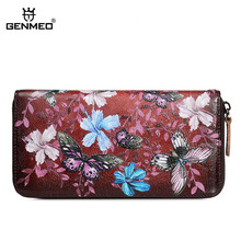 GENMEO Brand New Arrival Genuine Leather Zipper Wallet Women Coin Purse Butterfly Flowers Cow Hand Strap Bolsa Feminina