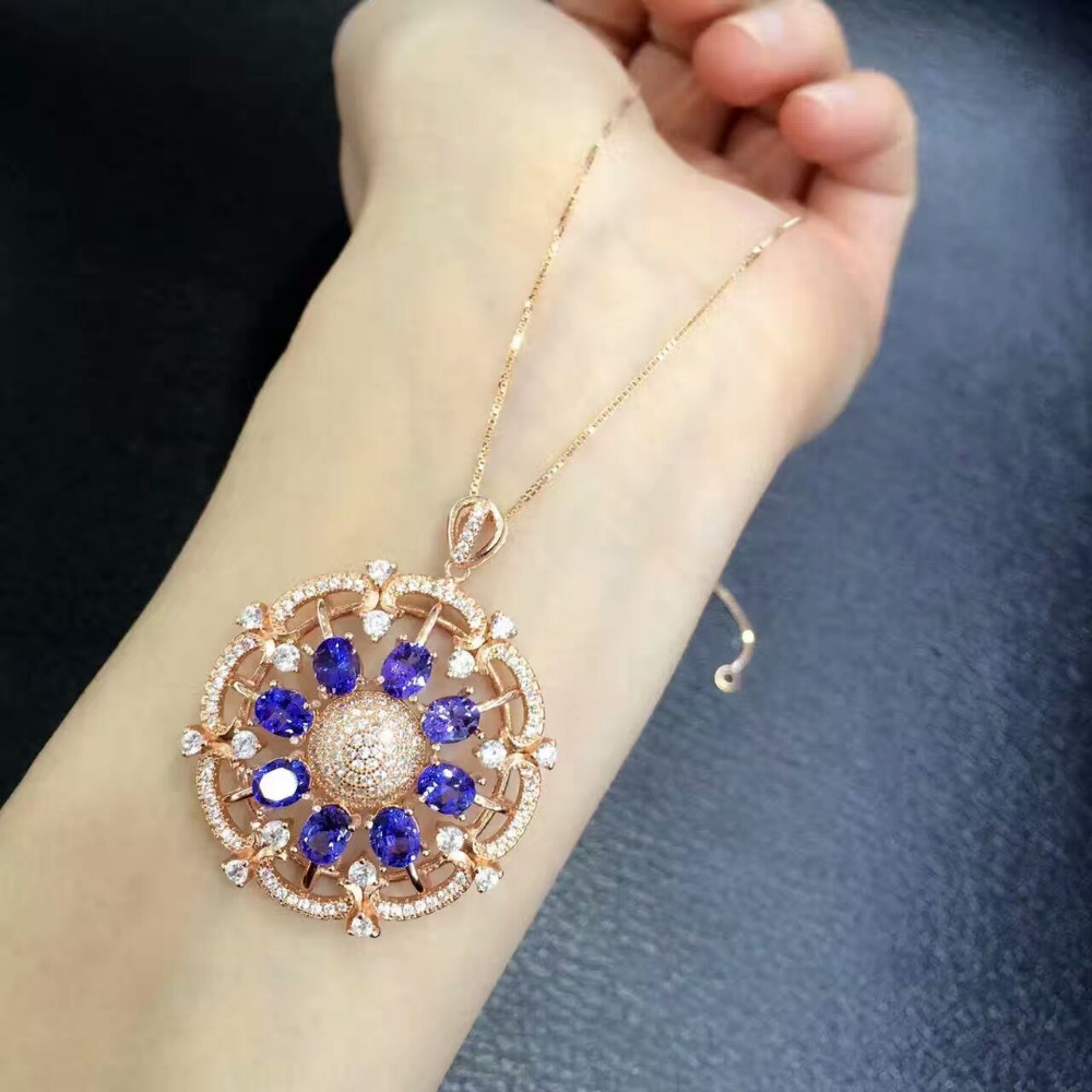 Collares Collier Qi Xuan_Fashion Jewelry_Blue Stone Necklaces_Rose Gold Color Fashion Blue Necklaces_Factory Directly Sales