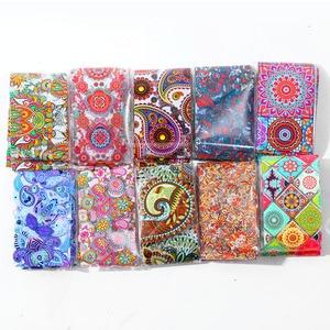Image 4 - 10pcs 4*20cm Paisley Colorful Nail Foils Nail Art Transfer Sticker Decal Mandala Slider Decals DIY Nail Tips Decorations