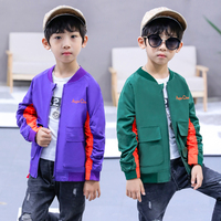 2018 Autumn Jackets for Boy Coat Bomber Jacket purple Green Boy's Windbreaker jacket Multicolor Kids Baseball Long sleeve Jacket