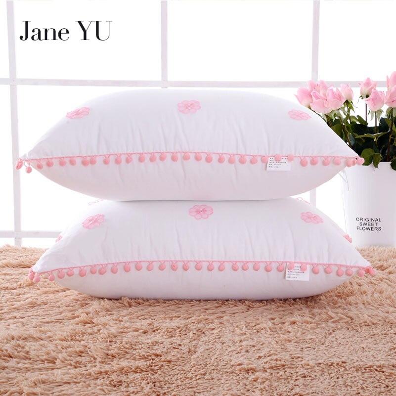 JaneYU coton fait à la main personnalisé Style européen dentelle oreiller doux confortable plume soie coton cou oreiller