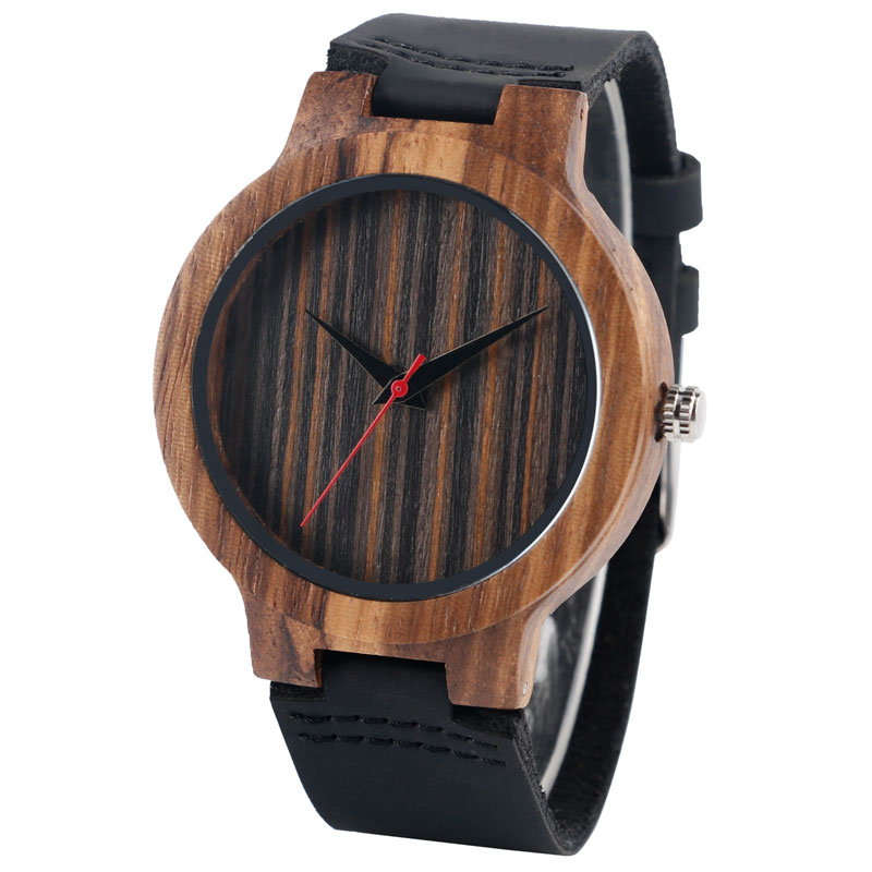 Men Watches Nature Wood Bamboo Women Analog Wristwatch Antique Genuine Leather Strap Creative Handmade Gift Reloj
