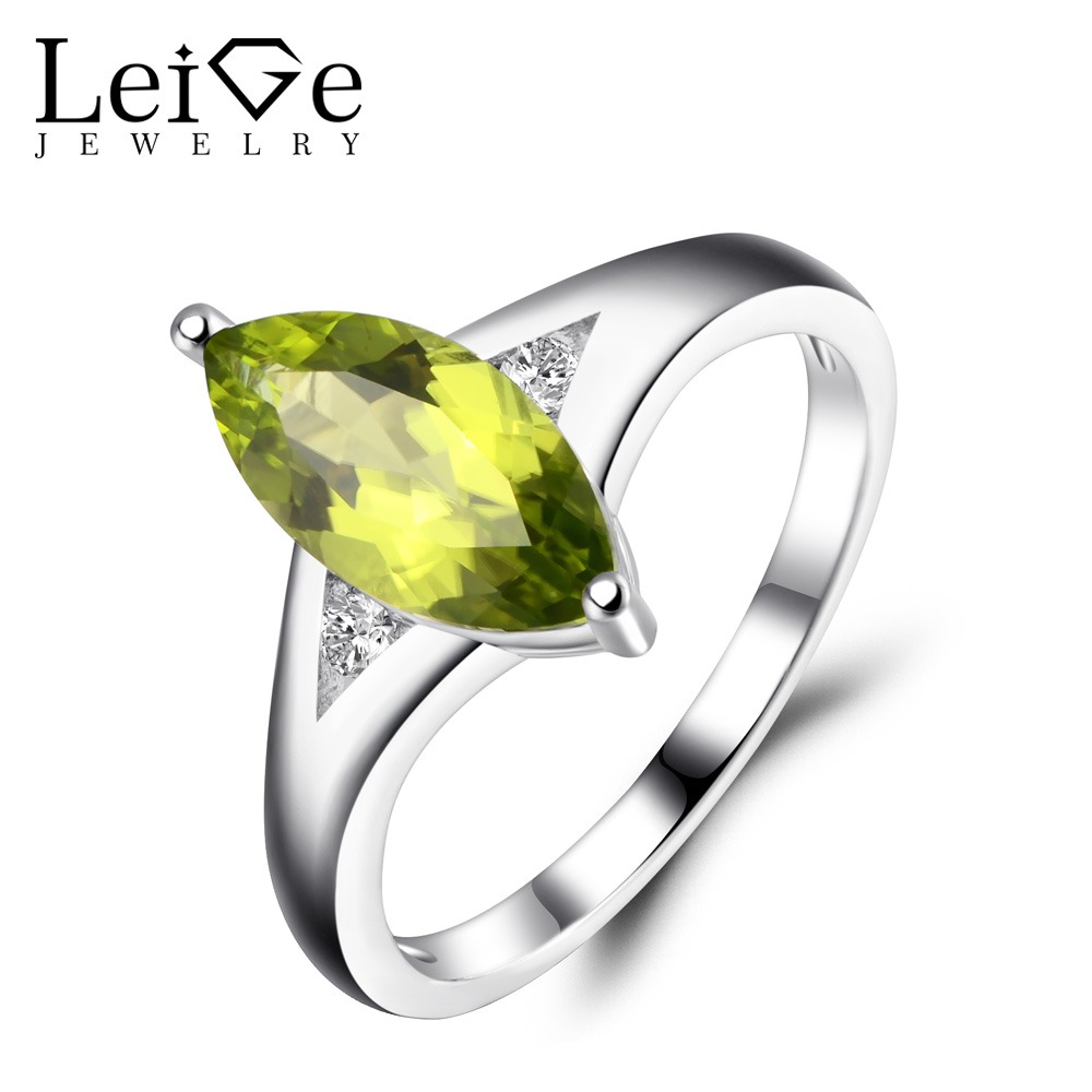 Leige Jewelry Natural Peridot Rings Green Gemstone Jewelry Wedding Engagement Ring for Women 925 Sterling Silver Marquise Cut