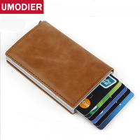 Aluminum Wallet Credit Card Holder Metal RFID Blocking Slim Stainless Card Case Wallet for Men Women Genuine Leather Coin Purse