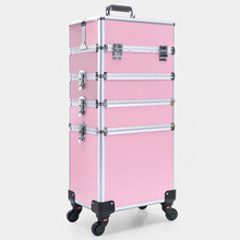 Brand Aluminum frame profession travel Trolley Makeup Box Beauty Case professional Luggage Suitcase Bag makeup Universal Wheels