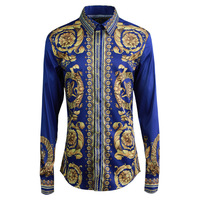 2019 new original ethnic pattern printing shirt men's long sleeve literary men's shirt