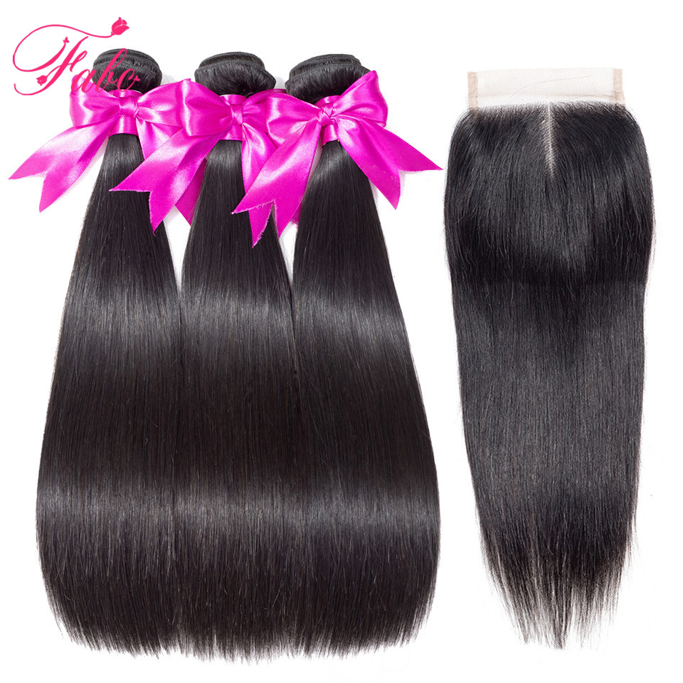 Image 5 - Fabc Hair Peruvian Straight Hair Bundles With Lace Closure Middle Part 3 Bundles With Closure Natural Black Human Hair Non remy-in 3/4 Bundles with Closure from Hair Extensions & Wigs
