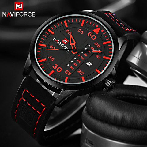 NAVIFORCE Fashion Sports Men Quartz Watches Leather Strap Luxury Brand Watches Man Red Dials 30M Waterproof Relogio Masculino Karachi