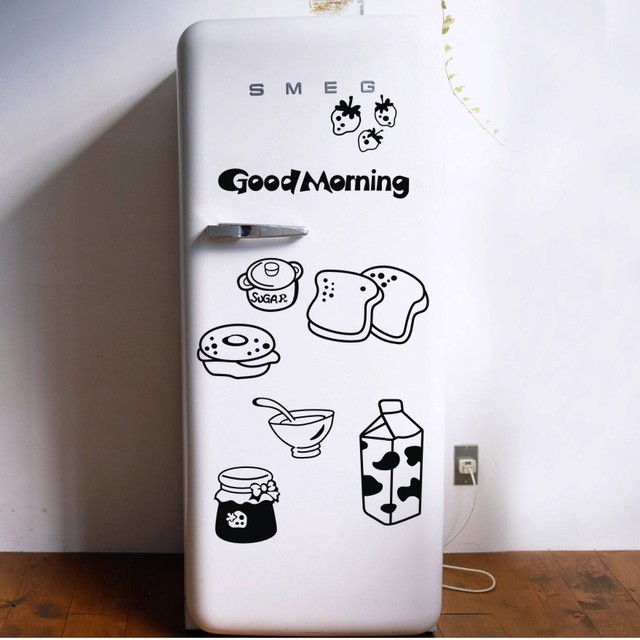 Good Morning Breakfast Combination Wall Decals Warm Family Dining Room Kitchen Fridge Decorative Stickers Free