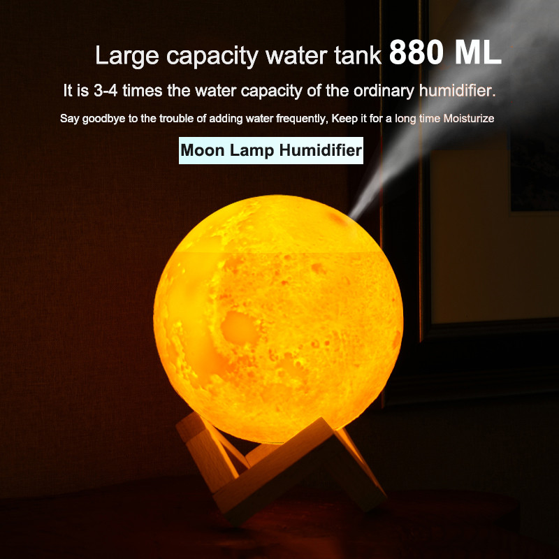 High Quality 880ML Ultrasonic Air Moon USB Humidifier Aroma Essential Oil Diffuser for Home USB Fogger Mist Maker with LED Lamp